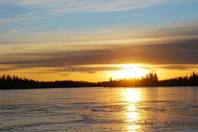 ηλιοβασίλεμα λιμνών πάγο&up στοκ εικόνες με δικαίωμα ελεύθερης χρήσης