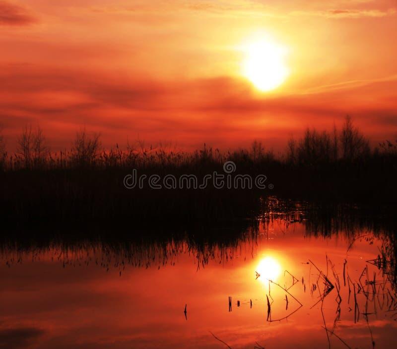 ηλιοβασίλεμα λιμνών στοκ εικόνες με δικαίωμα ελεύθερης χρήσης