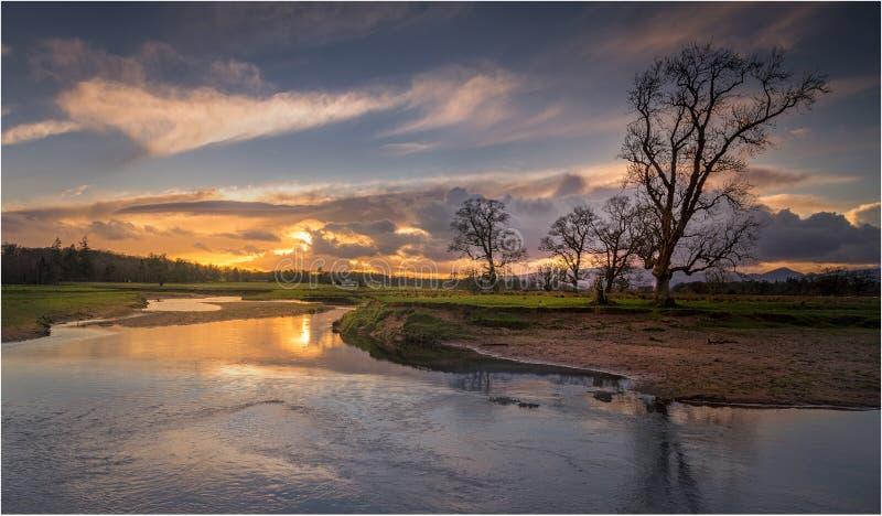 Ηλιοβασίλεμα Μαρτίου σε Drymen, Σκωτία στοκ φωτογραφία με δικαίωμα ελεύθερης χρήσης