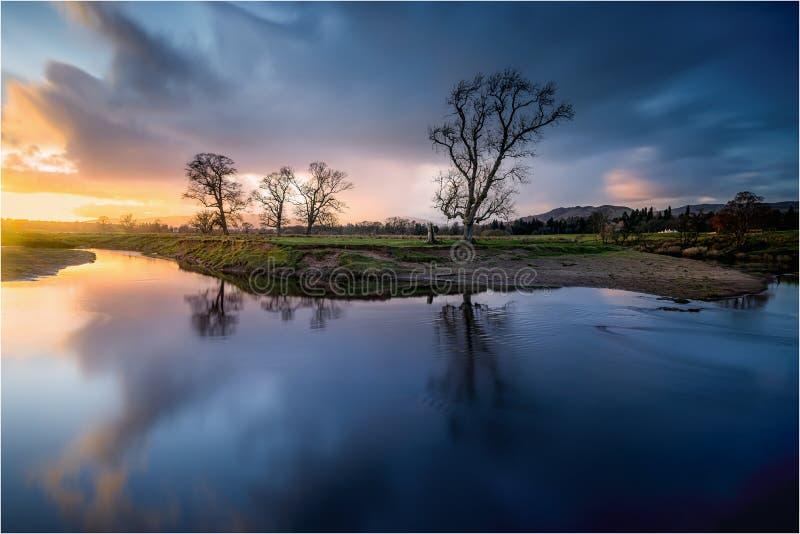 Ηλιοβασίλεμα Μαρτίου σε Drymen, Σκωτία στοκ εικόνα