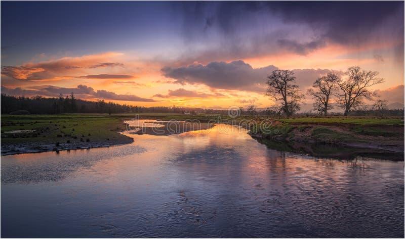 Ηλιοβασίλεμα Μαρτίου σε Drymen, Σκωτία στοκ φωτογραφίες