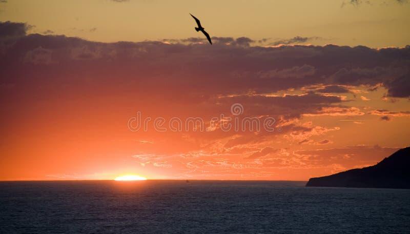 ηλιοβασίλεμα Μαύρης Θάλ&alph στοκ φωτογραφία