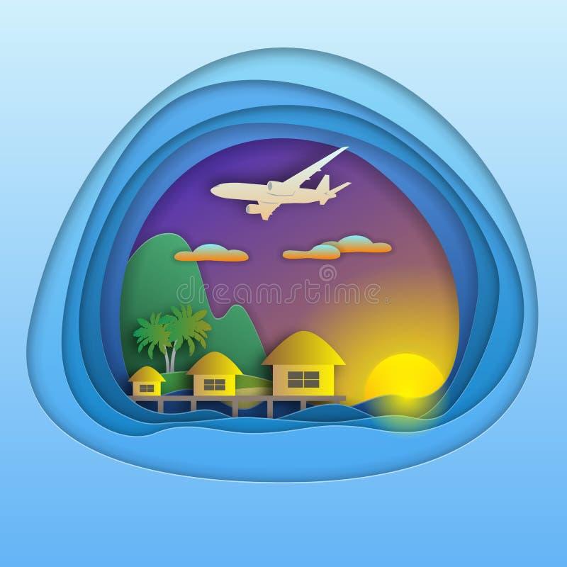 Ηλιοβασίλεμα με τα μπανγκαλόου στο θέρετρο θάλασσας, τα αεροσκάφη στον ουρανό, το βουνό και τους φοίνικες στο νησί απεικόνιση αποθεμάτων