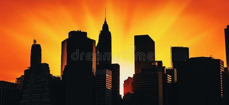 ηλιοβασίλεμα οριζόντων του Μανχάτταν στοκ φωτογραφία με δικαίωμα ελεύθερης χρήσης