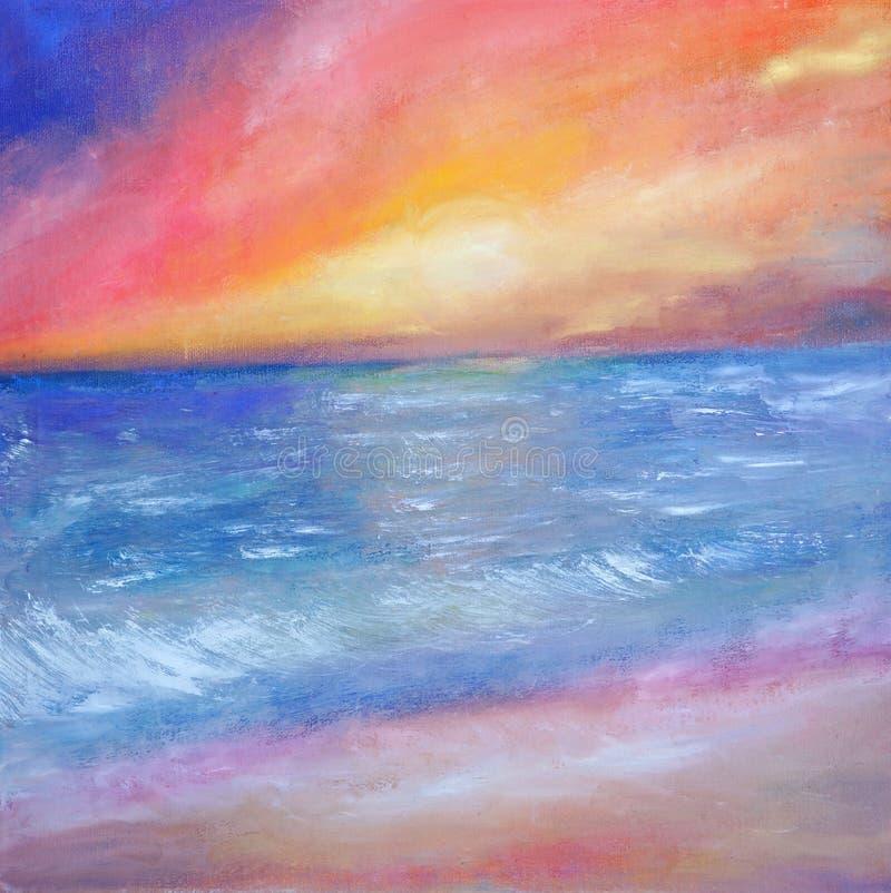 Ηλιοβασίλεμα πέρα από την ήρεμη θάλασσα ελεύθερη απεικόνιση δικαιώματος