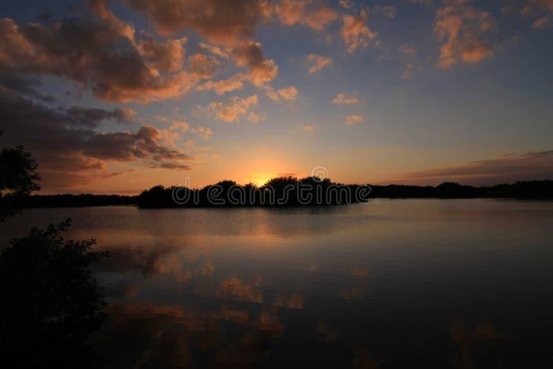 Ηλιοβασίλεμα πέρα από τη λίμνη Paurotis, εθνικό πάρκο Everglades στοκ φωτογραφία με δικαίωμα ελεύθερης χρήσης