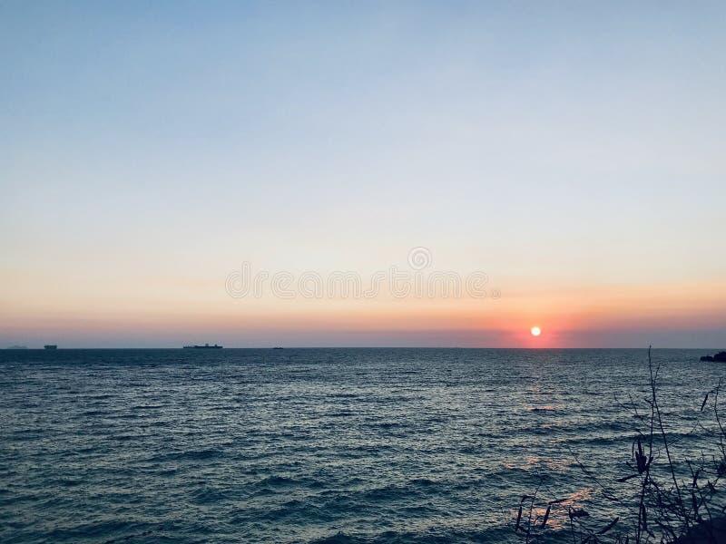 Ηλιοβασίλεμα παραλιών θάλασσας στοκ εικόνες