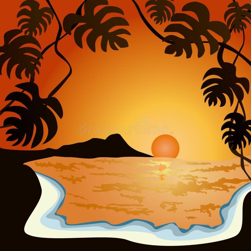 ηλιοβασίλεμα παραλιών απεικόνιση αποθεμάτων