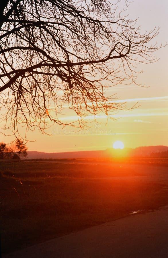 Ηλιοβασίλεμα σε ένα κρύο Winterday στοκ φωτογραφίες
