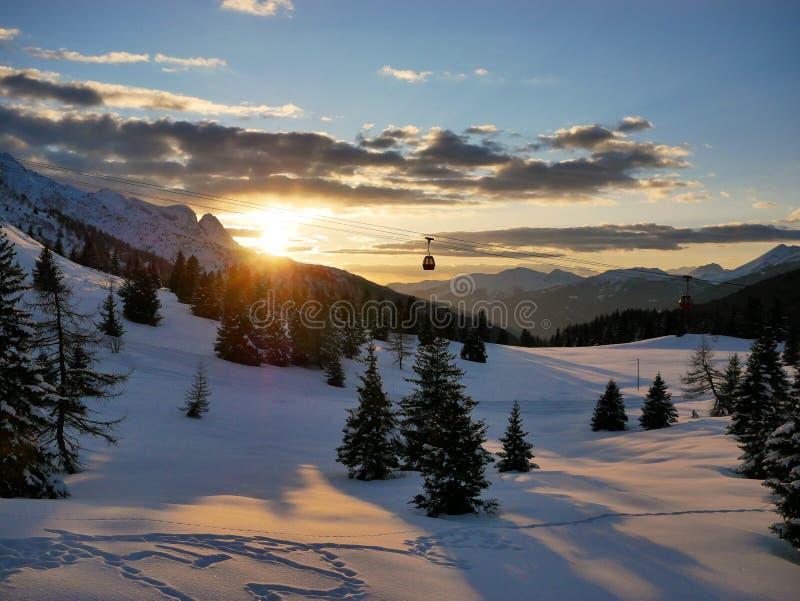 Ηλιοβασίλεμα σε Passo Tonale στοκ εικόνες με δικαίωμα ελεύθερης χρήσης