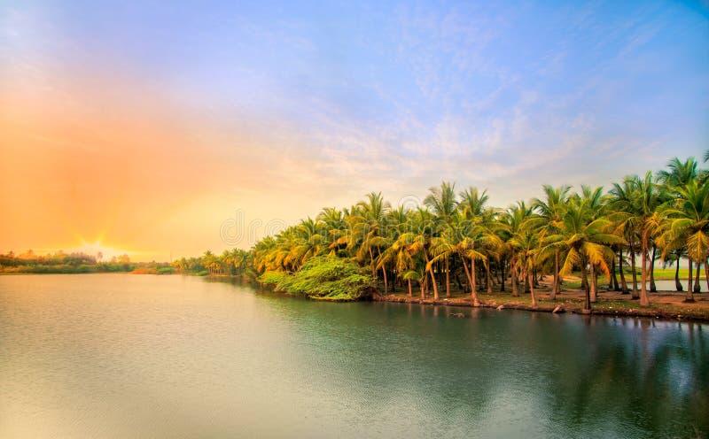 Ηλιοβασίλεμα σε Pondicherry στοκ φωτογραφία με δικαίωμα ελεύθερης χρήσης