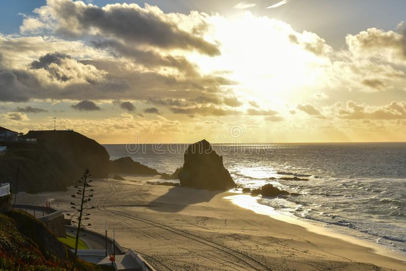Ηλιοβασίλεμα σε Santa Cruz - την Πορτογαλία στοκ φωτογραφίες με δικαίωμα ελεύθερης χρήσης