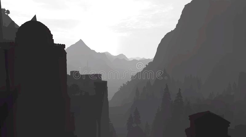 Ηλιοβασίλεμα στα βουνά στο grayscale ελεύθερη απεικόνιση δικαιώματος