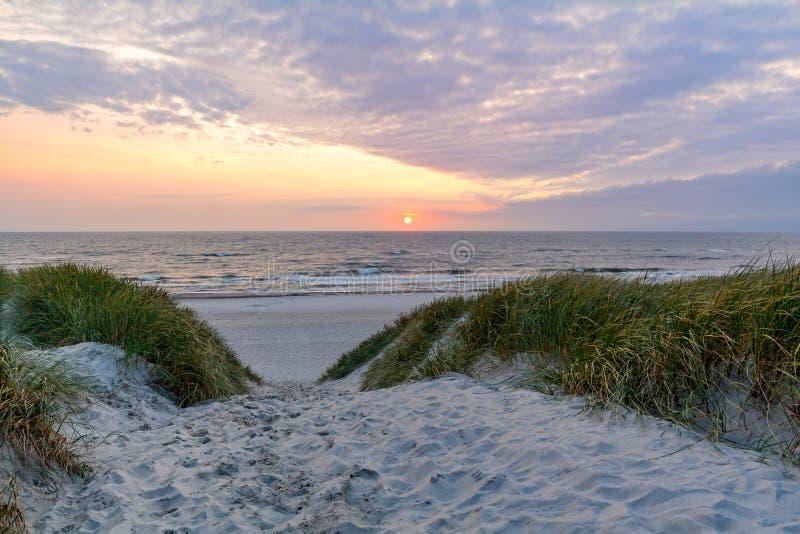 Ηλιοβασίλεμα στην όμορφη παραλία με το τοπίο αμμόλοφων άμμου κοντά στο σκέλος Henne, Γιουτλάνδη Δανία στοκ εικόνα με δικαίωμα ελεύθερης χρήσης