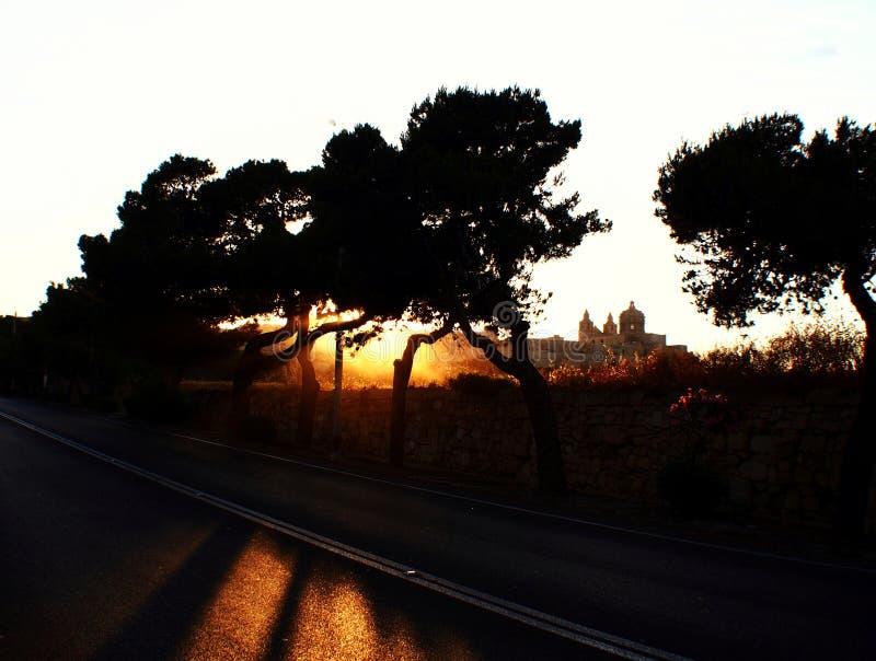 Ηλιοβασίλεμα στη Rabat, Μάλτα στοκ φωτογραφίες