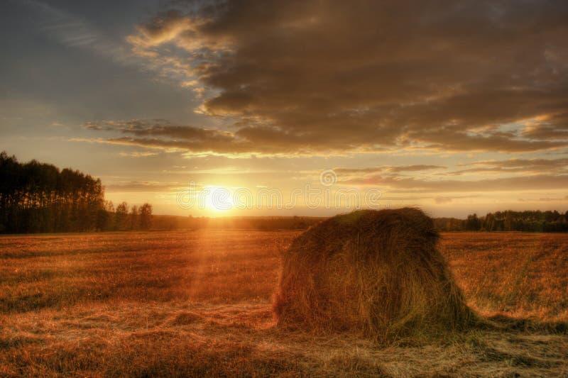 ηλιοβασίλεμα στοιβών σανού στοκ εικόνα