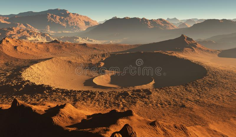 Ηλιοβασίλεμα στον Άρη Αριανό τοπίο, κρατήρες αντίκτυπου στον Άρη ελεύθερη απεικόνιση δικαιώματος