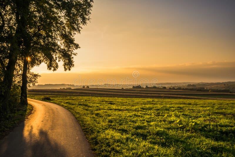 Ηλιοβασίλεμα στους αγροτικούς τομείς στοκ εικόνες