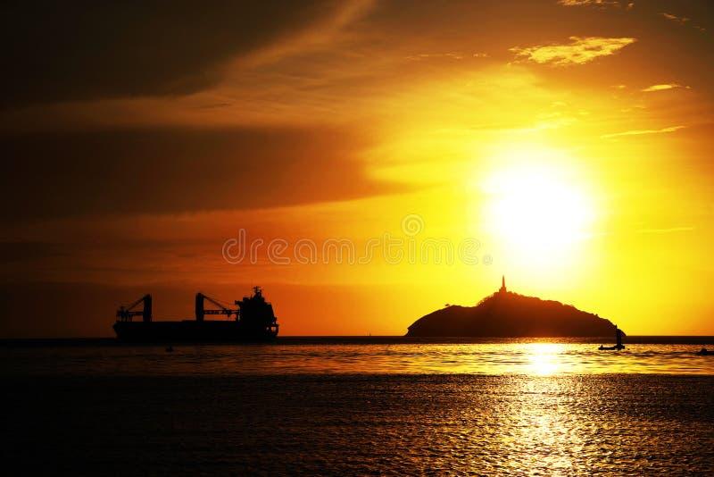 Ηλιοβασίλεμα στο θέρετρο Santa Marta - νησί EL Morro, Κολομβία στοκ φωτογραφίες με δικαίωμα ελεύθερης χρήσης