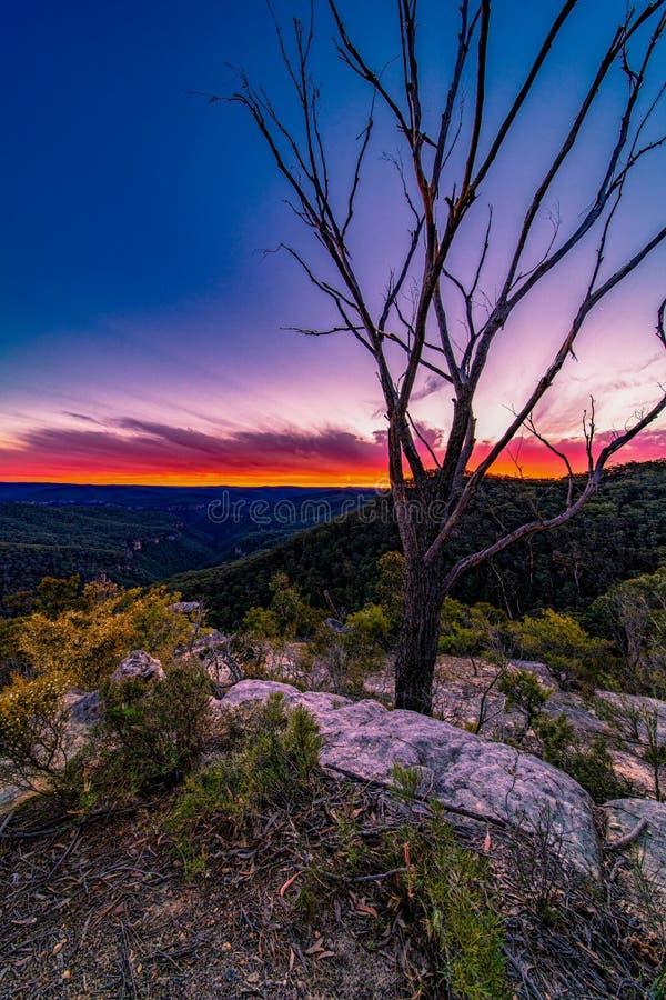 Ηλιοβασίλεμα στο Μπόνι View Lookout, Bundanon, NSW, Αυστραλία στοκ εικόνες