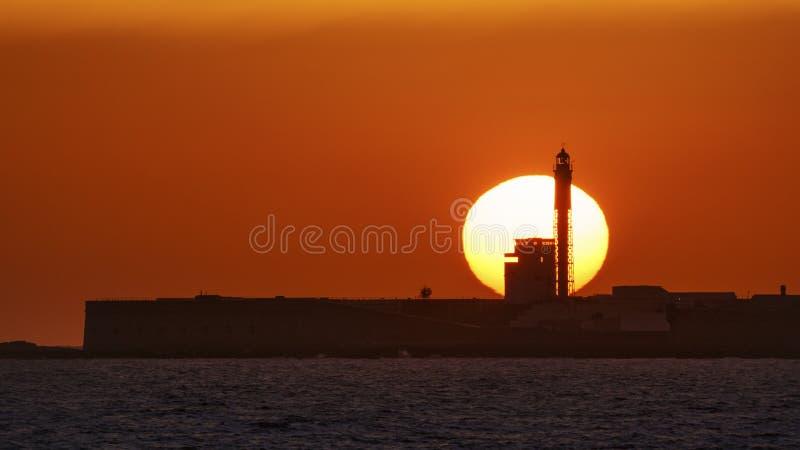 Ηλιοβασίλεμα στο φάρο Αγίου Sebastian στοκ φωτογραφίες με δικαίωμα ελεύθερης χρήσης