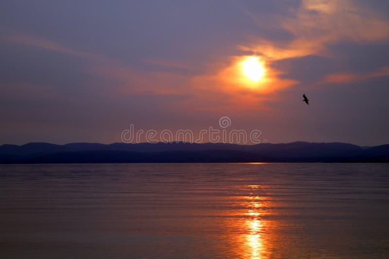 Ηλιοβασίλεμα στο gaspesie, Καναδάς, Notre κυρία du Portage στοκ εικόνες με δικαίωμα ελεύθερης χρήσης