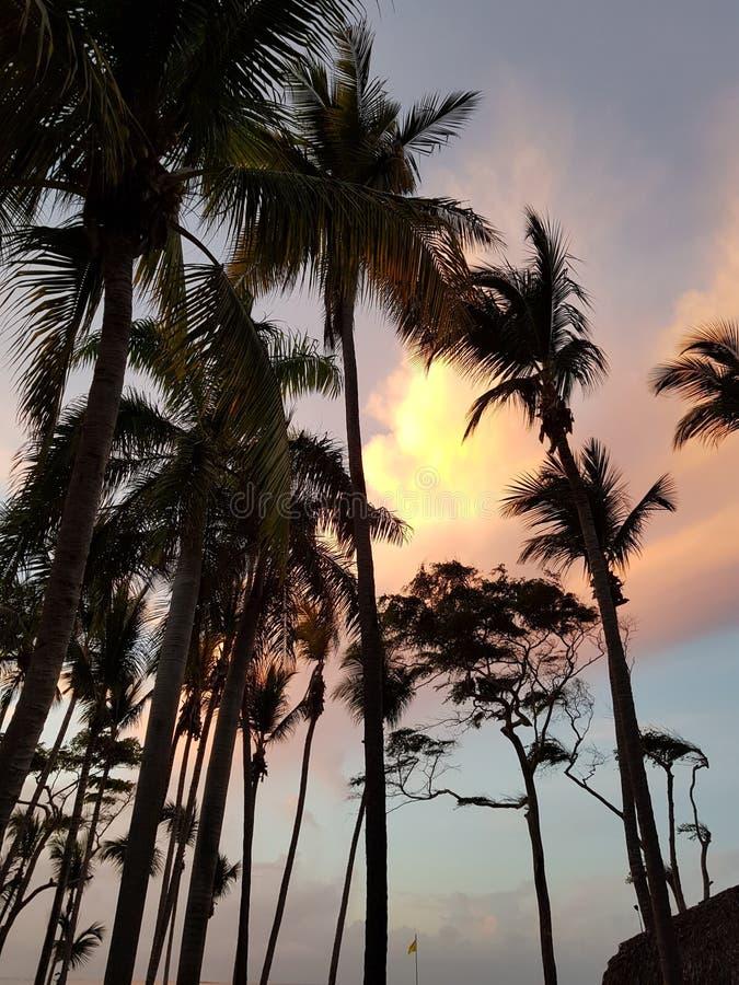 Ηλιοβασίλεμα στο plata Puerto Δομινικανής Δημοκρατίας στοκ φωτογραφίες