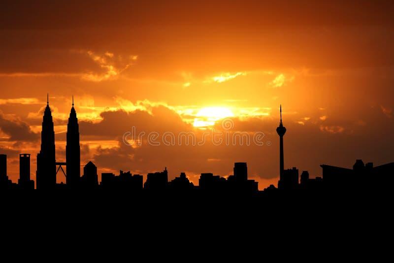 ηλιοβασίλεμα της Κουάλα Λουμπούρ απεικόνιση αποθεμάτων
