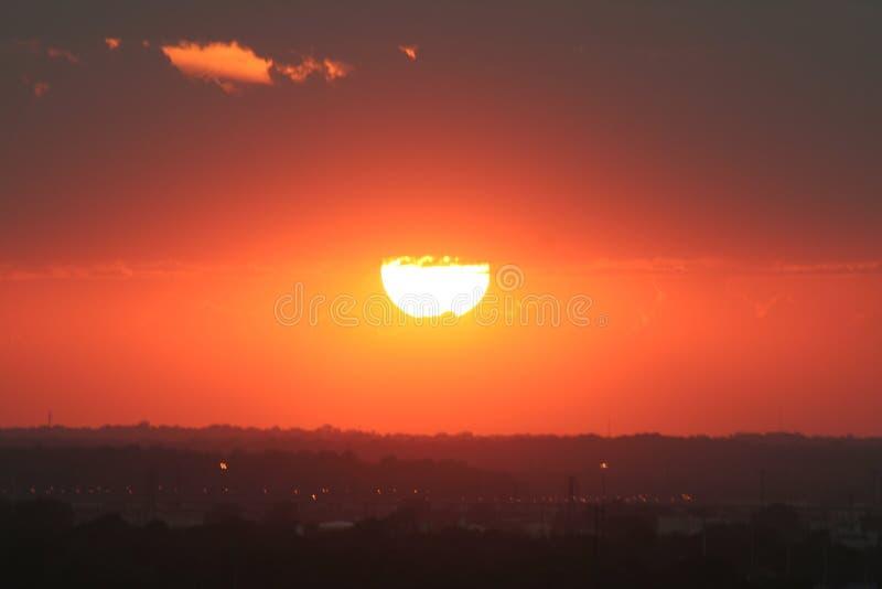 ηλιοβασίλεμα του Κάνσας πόλεων στοκ εικόνα