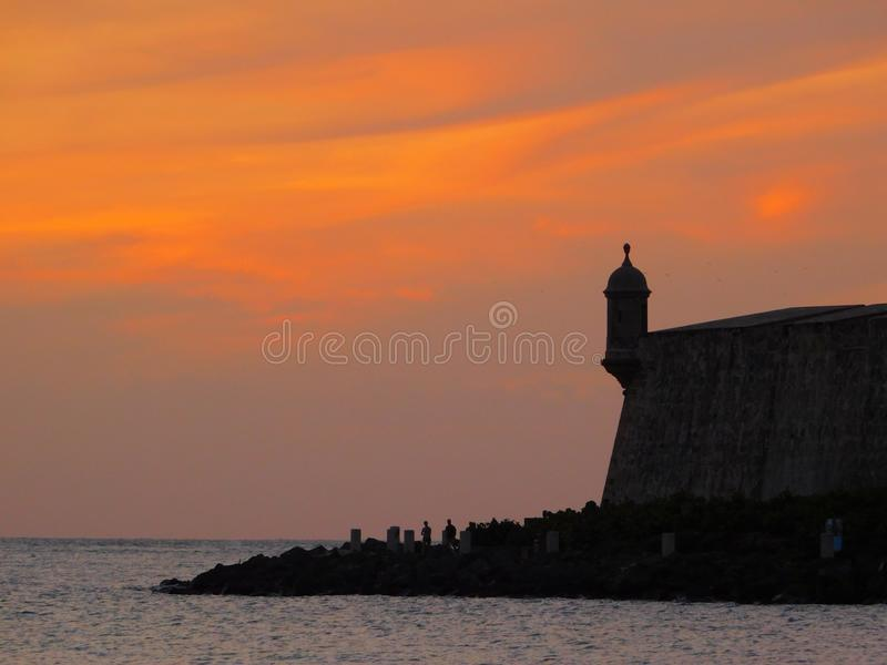 Ηλιοβασίλεμα το παλαιό San Juan στοκ εικόνα