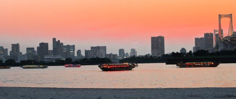 ηλιοβασίλεμα Τόκιο κόλπων στοκ εικόνα με δικαίωμα ελεύθερης χρήσης