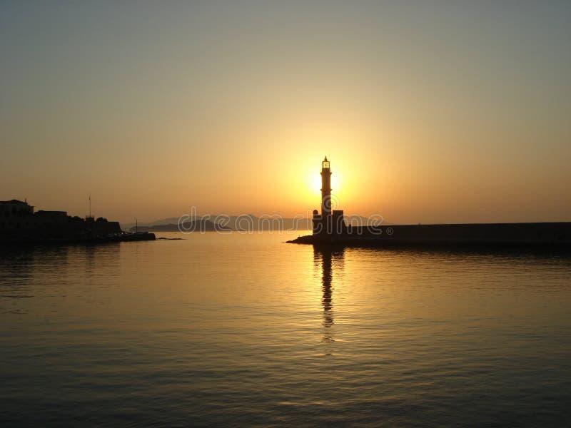 ηλιοβασίλεμα φάρων στοκ φωτογραφία