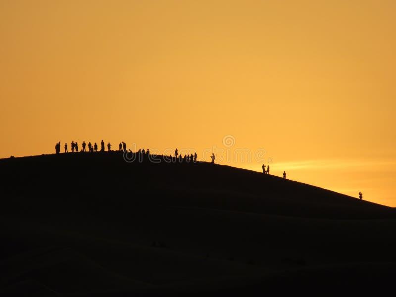 Ηλιοβασίλεμα Erg Chebbi στοκ φωτογραφία με δικαίωμα ελεύθερης χρήσης