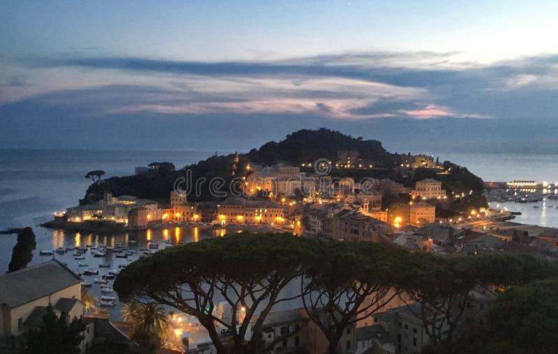 Ηλιοβασίλεμα Levante Sestri στοκ φωτογραφίες