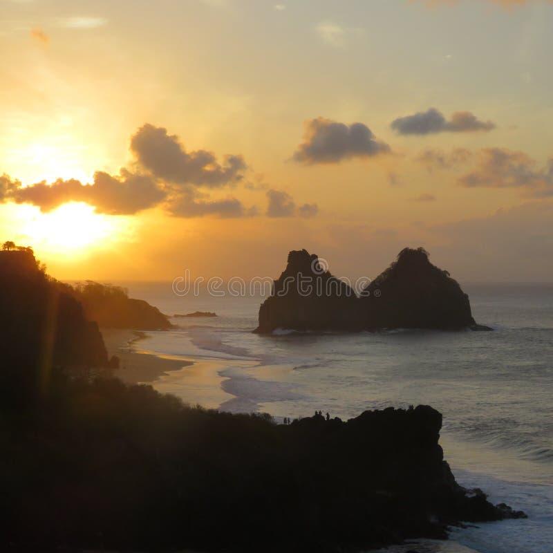Ηλιοβασίλεμα Noronha στοκ εικόνες