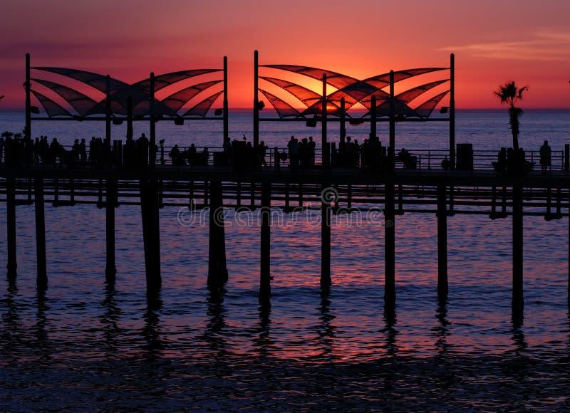 ηλιοβασίλεμα redondo αποβαθρών παραλιών στοκ εικόνες