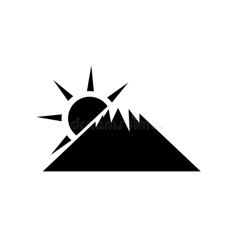 Ηλιοβασιλέματος του Φούτζι βουνών σημάδι και σύμβολο εικονιδίων διανυσματικό που απομονώνονται στο άσπρο υπόβαθρο, έννοια λογότυπ απεικόνιση αποθεμάτων