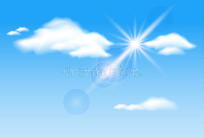 ηλιοφάνεια σύννεφων διανυσματική απεικόνιση