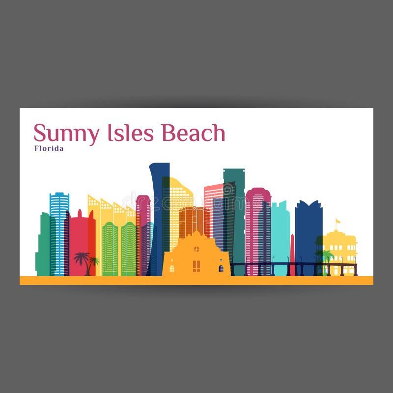 Ηλιόλουστη σκιαγραφία αρχιτεκτονικής πόλεων παραλιών νησιών απεικόνιση αποθεμάτων