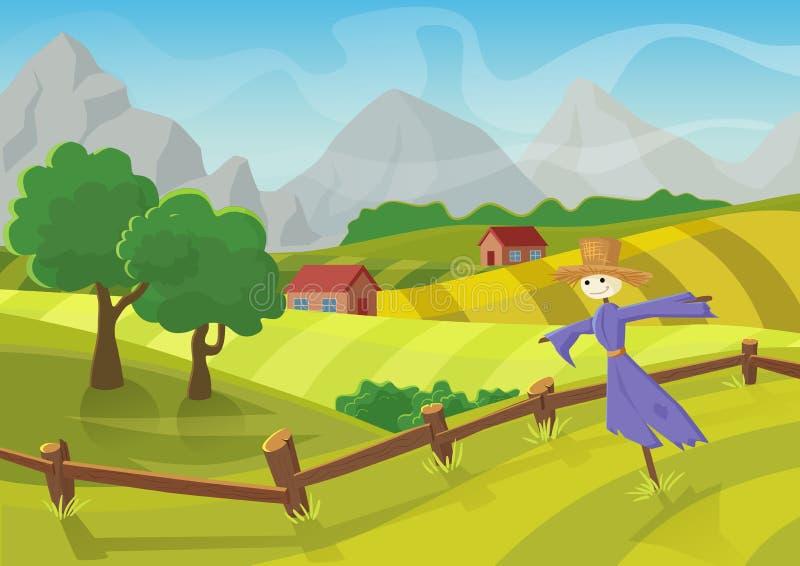 Ηλιόλουστο αγροτικό τοπίο με τους λόφους, τα δέντρα, τα βουνά και τους τομείς Διανυσματική απεικόνιση του όμορφου θερινού τοπίου  ελεύθερη απεικόνιση δικαιώματος