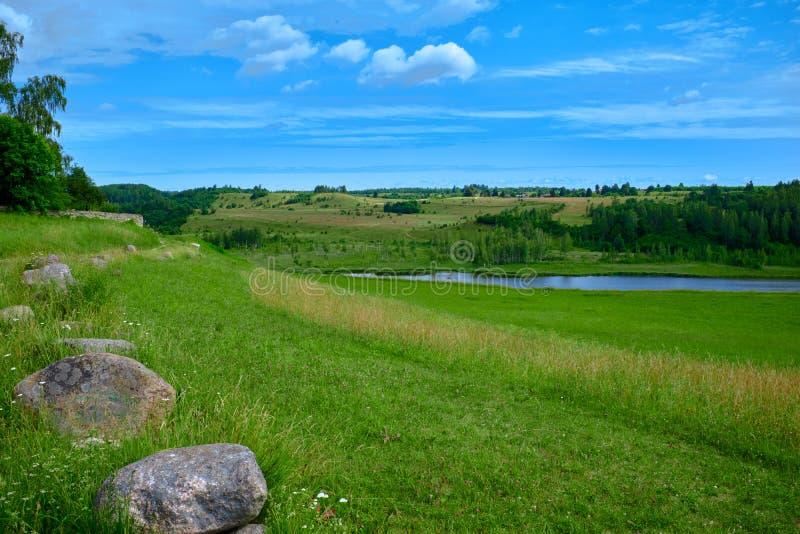 Ηλιόλουστο θερινό τοπίο με τον ποταμό Πράσινοι λόφοι και λιβάδια Τομείς της πολύβλαστης πράσινης χλόης στοκ εικόνα