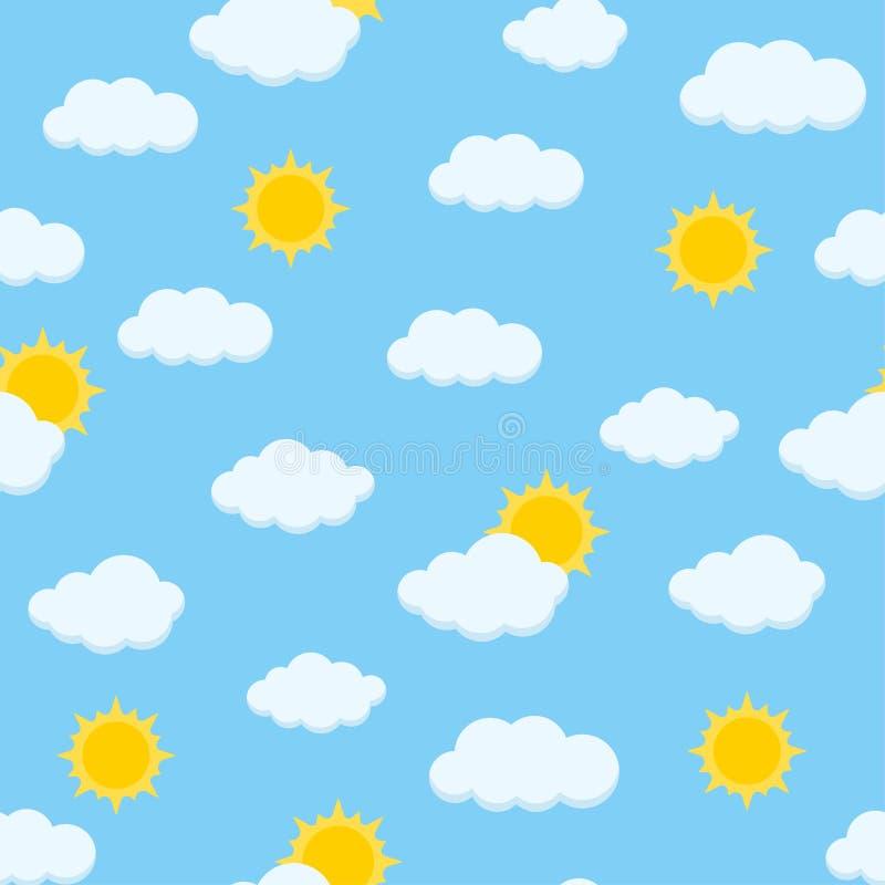 Ηλιόλουστο χαριτωμένο διανυσματικό άνευ ραφής σχέδιο ουρανού ημέρας με τα χνουδωτά σύννεφα και το λάμποντας ήλιο διανυσματική απεικόνιση
