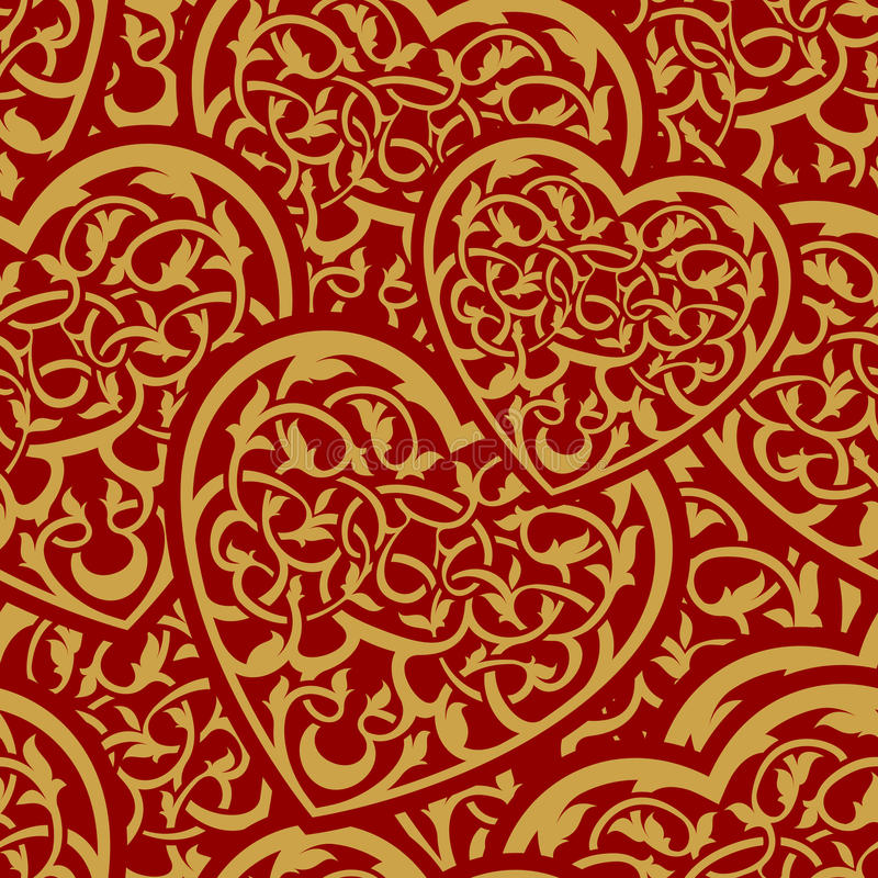ημέρας χρυσή ταπετσαρία βαλεντίνων προτύπων άνευ ραφής διανυσματική απεικόνιση