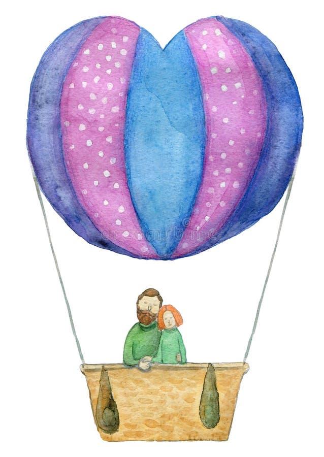 Ημέρα, απεικόνιση ή κάρτα βαλεντίνων ` s του ζεύγους Lovebirds σε ένα μπαλόνι ζεστού αέρα - πορεία ψαλιδίσματος εργασίας που απομ ελεύθερη απεικόνιση δικαιώματος