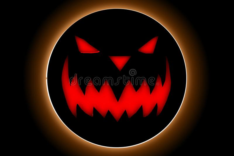 Ημέρα αποκριών με το διάβολο κολοκύθας στο μαύρο υπόβαθρο στοκ εικόνα