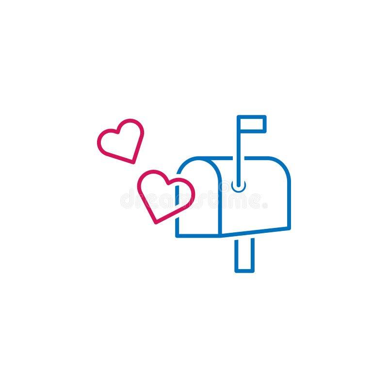 Ημέρα βαλεντίνου, ταχυδρομική θυρίδα, εικονίδιο καρδιών Μπορέστε να χρησιμοποιηθείτε για τον Ιστό, λογότυπο, κινητό app, UI, UX ελεύθερη απεικόνιση δικαιώματος