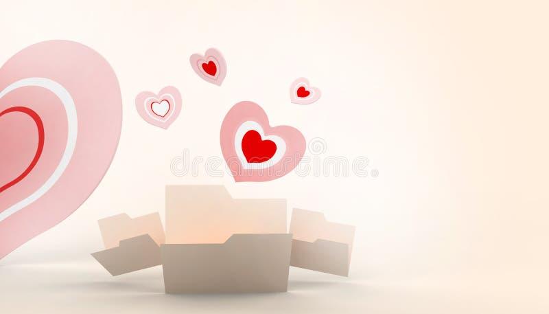 Ημέρα βαλεντίνων, αγάπη και μορφή καρδιών στο πορτοκαλί υπόβαθρο κρητιδογραφιών διανυσματική απεικόνιση