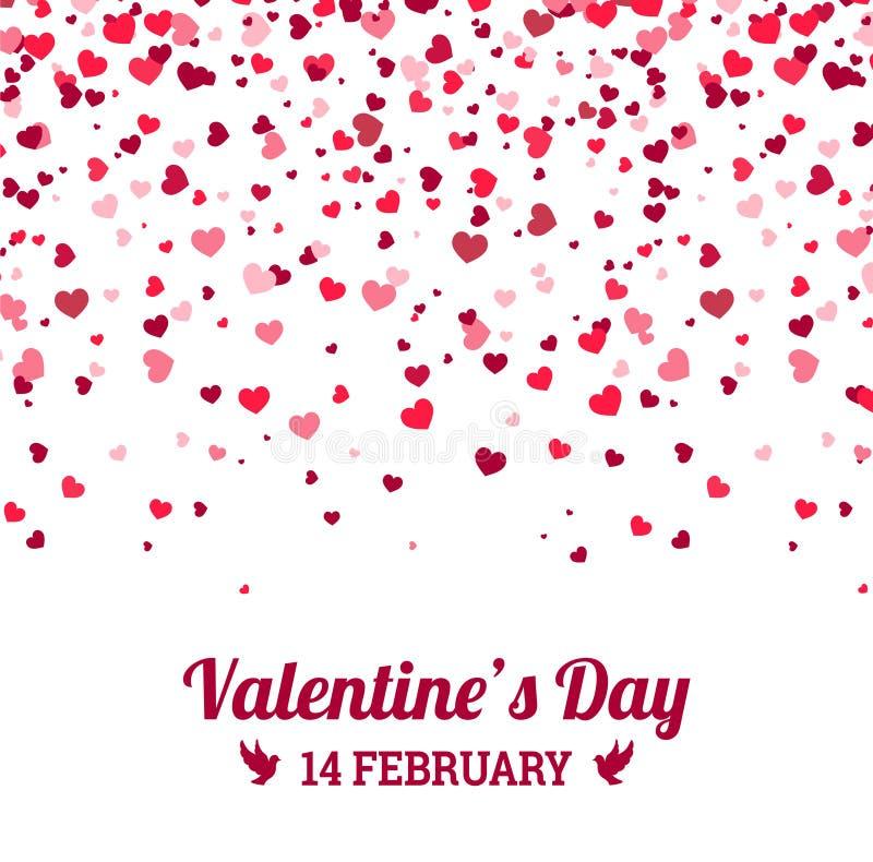 Ημέρα βαλεντίνων - διανυσματική ευχετήρια κάρτα με το άσπρο υπόβαθρο καρδιών διανυσματική απεικόνιση