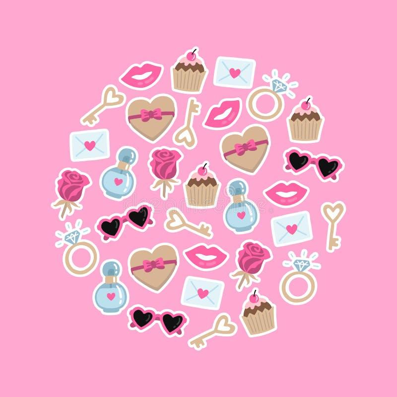 Ημέρα βαλεντίνων που τίθεται με τα στοιχεία αγάπης Συλλογή των στοιχείων αγάπης doodle για το γάμο, κάρτα ημέρας του βαλεντίνου διανυσματική απεικόνιση