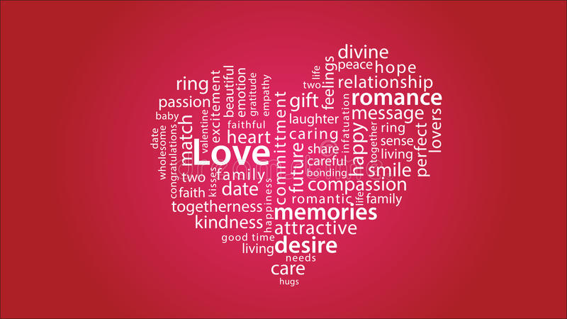 Ημέρα βαλεντίνων ευγνωμοσύνης καρδιών πάθους αγάπης σύννεφων 01 Word ελεύθερη απεικόνιση δικαιώματος